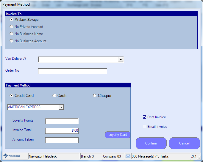 EPOS Payment Screen